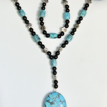 Turquoise Bead and Black Jasper Bead Necklace with Turquoise Mosaic Pendant and Bracelet St