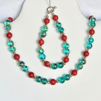 Turquoise Marble Bead and Red Bead Necklace and Bracelet Set