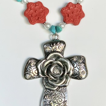 Turquoise Nugget, Red Flower Bead, White Pearl and Antique Silver Flower Bead Necklace with Antique Silver Cross Pendant