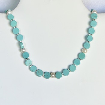 Turquoise Round Bead and Ivory Pearl Necklace
