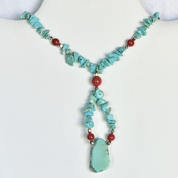 Turquoise Stone Chip and Red Bead Y Necklace