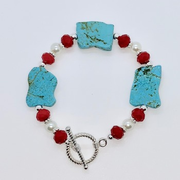 Turquoise Stone, Red Faceted Bead and White Pearl Bracelet