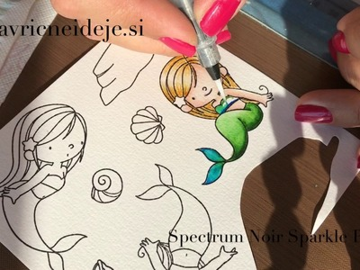 Creating MFT mermaid card with Distress inks and Spectrum Noir Sparkle pens