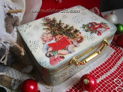 Decoupage Tutorial Christmas Vintage Box DIY