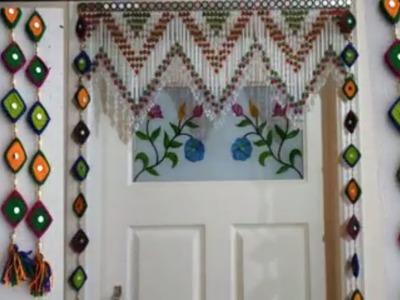 DIY - DOOR HANGING TORAN MAKING CRAFT IDEA || DOOR SIDE LONG TORAN MAKING FLOWER TORAN AT HOME