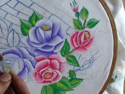 Fabric painting.Painting. Basket  with roses painting. Part-1