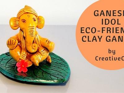 Ganesh Idol.Murti (Eco friendly Clay Ganesh Easy & Handmade 2018) - How to make Ganesh Murti
