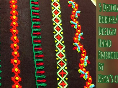 Hand embroidery | 5 different types of simple and easy border design (Decorative stitch)