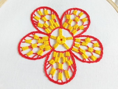 Hand embroidery of a flower with weaving bar stitch