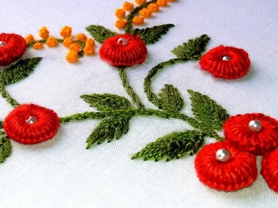Hand Embroidery: Ring button hole Stitch.