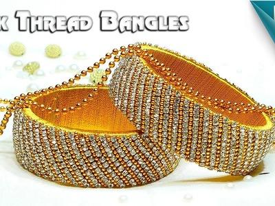 How To Make Beautiful Silk Thread Bangles Using Stone Chain, Gold Ball Chain