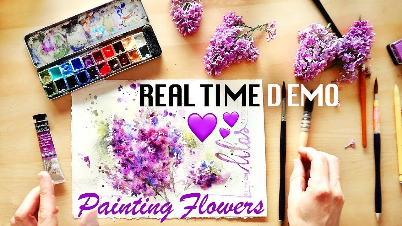 Lilac Real Time Watercolor. How to Paint Flowers! ????
