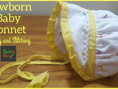 Newborn Baby Bonnet.Cap Cutting and Stitching in Hindi