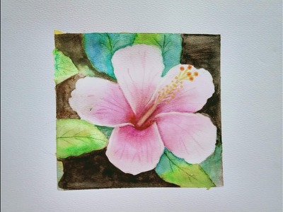 Painting.Hibiscus flower water color painting easy step by step.