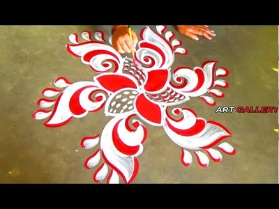 Pooja Room decoration idea Red white Innovative Rangoli.Alpana designs by 5 x 3 dots