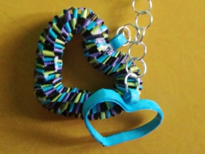 Quilled heart shaped keychain