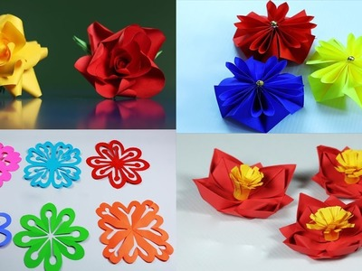 4 Easy Paper Flowers || How To Make Paper Flowers || Paper Girl