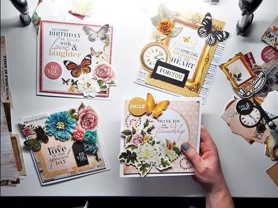 4 SIMPLE Cards 1 Scrapbooking Kit TUTORIAL ♡ Maremi's Small Art ♡