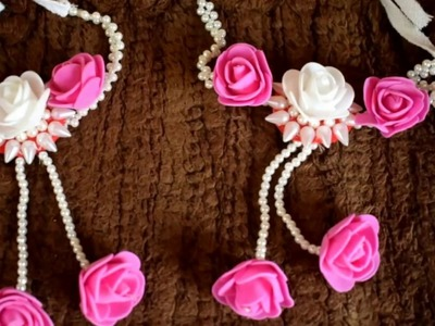 Artificial flowers and  moti  jewellery making - Baju Bandh  for dohale jevan or haldi function