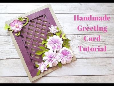 Beautiful Handmade Greeting Card for Birthday.Anniversary.Festivals - DIY Weaving Card Idea