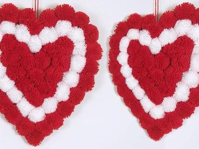 Beautiful Heart Shaped Wall Decor Showpiece || Wall Hanging Making Using Woolen || Home Decoration