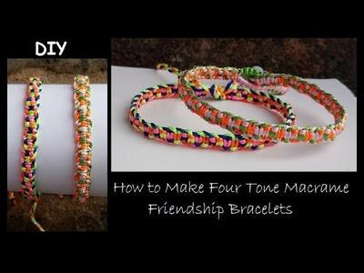 Easy 4 Colour Centre Stripe Macrame Bracelet [Style #2]