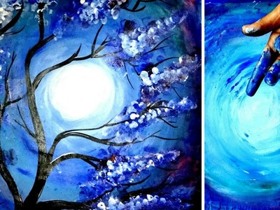 FINGER PAINTING. SPEED PAINTING - FULL MOON