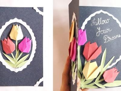 Greeting card idea of tulip flower || multipurpose greeting card