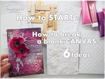 How to Break A Blank CANVAS 6 Ideas Mixed Media for Beginners #1 ♡ Maremi's Small Art ♡
