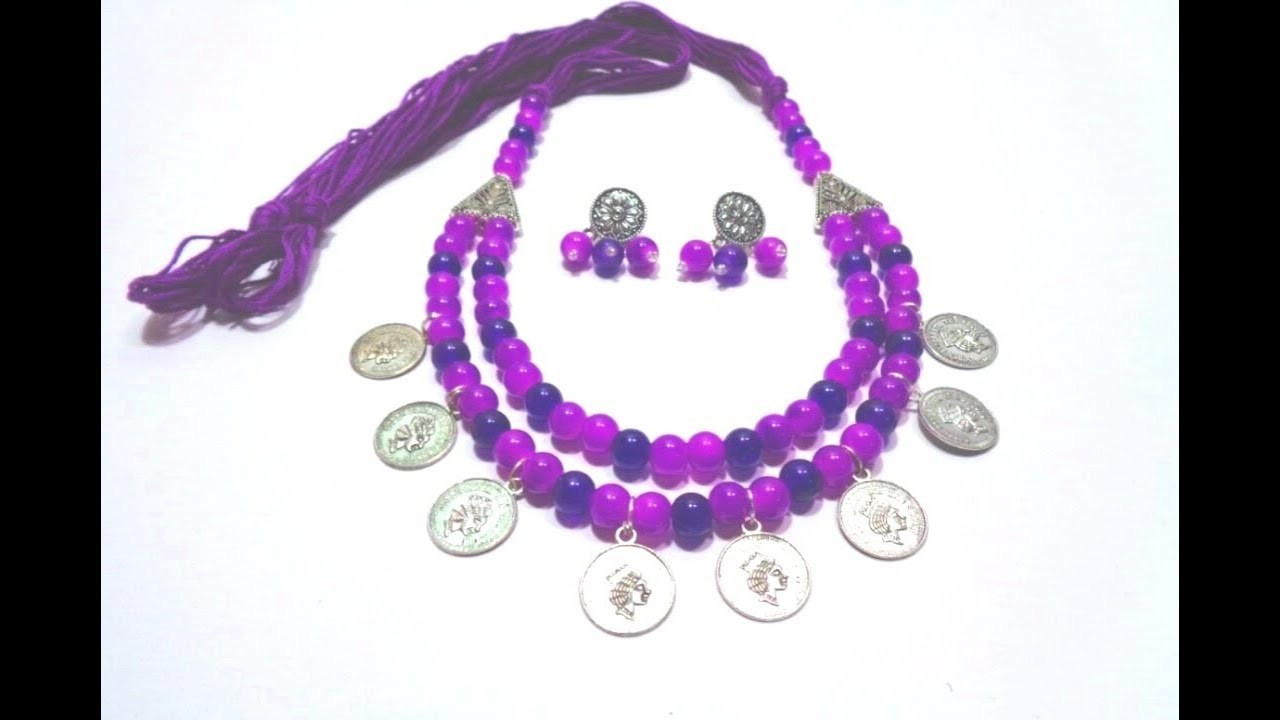 How to Make Coin Necklace With Earring . German Silver Necklace