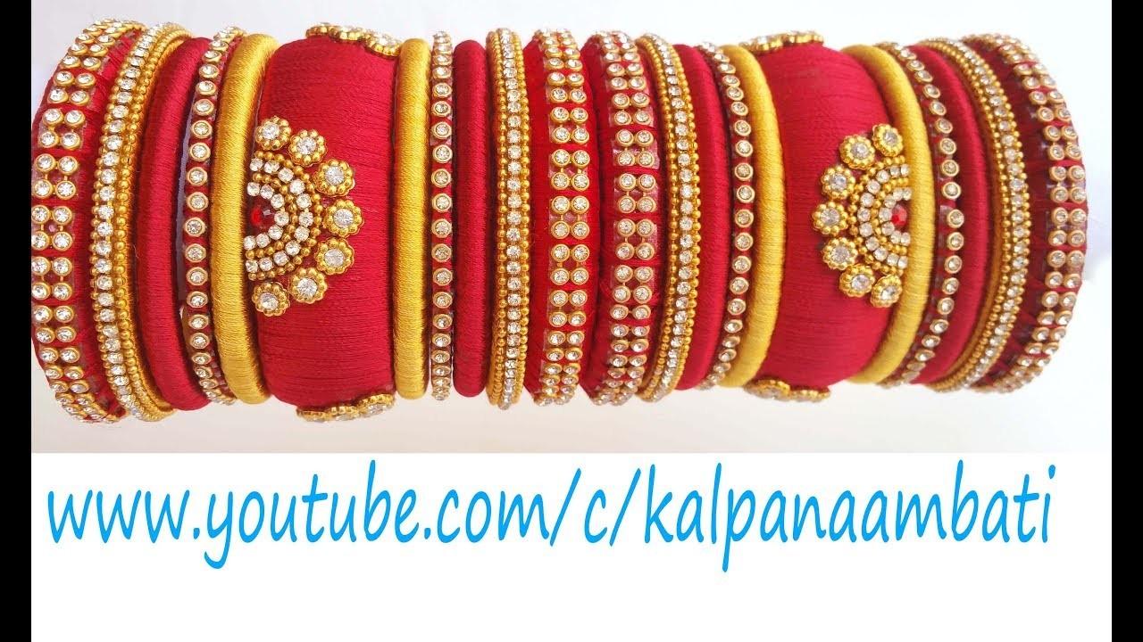 How to make Designer Silk Thread Bangles set at Home. Bridal Bangles set with kundans