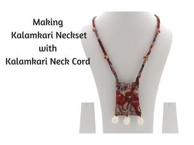 How to make kalamkari neckset|easy fabric neckset|Kalamkari jewelery