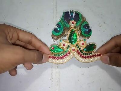 How to make mukut for krishna ji.