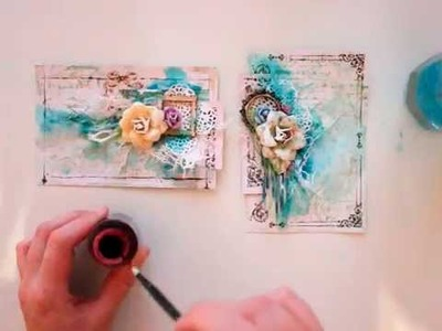 Lindy's Stamp Gang mixed media cards tutorial