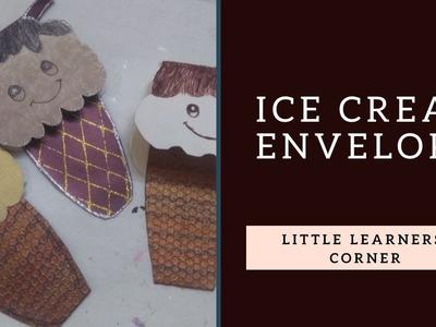 Make Ice-cream Invitation card || Ice-cream Envelope with Little Learners Corner