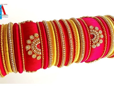 Making of silk thread bangles || red color bridal bangles set with fancy design tutorial