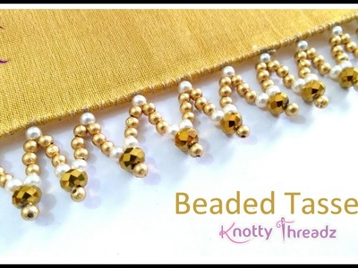 New Saree Kuchu Design   Beaded Tassels   Crystal and Pearls Design   6.10   www.knottythreadz.com