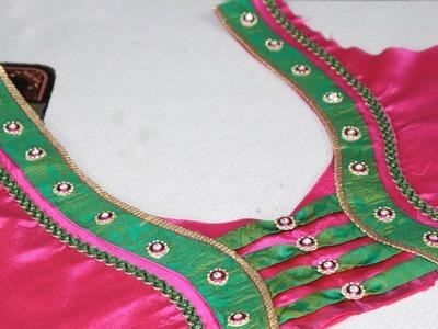 Paithani Saree Blouse neck design cutting and Stitching at Home 2018 || Ladies fashion Blouse