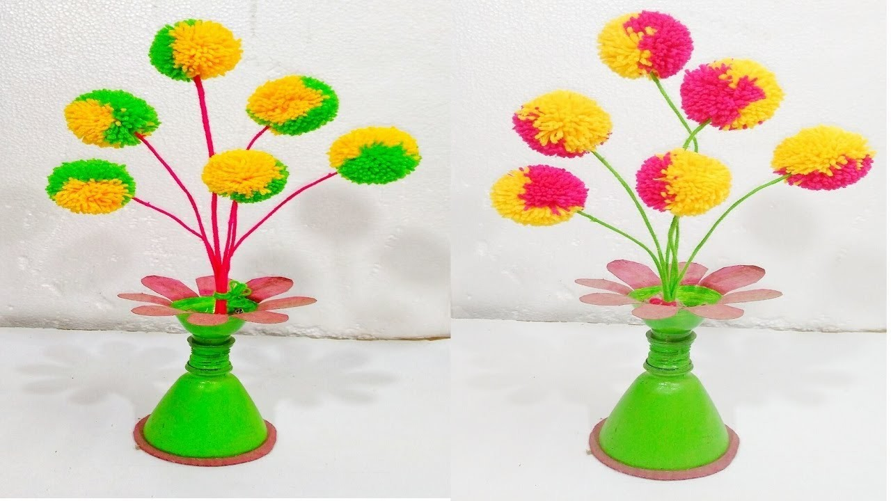 Pom Pom Flowers Making