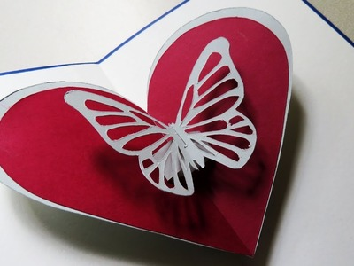 Pop up card (butterfly heart) -  Greeting pop up card by template - EzyCraft