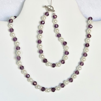 Purple Czech Bead, White Pearl and Iridescent Czech Bead Necklace and Bracelet Set
