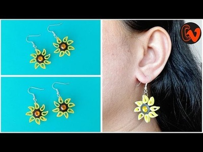 Quilling Earrings. How to make quilling earrings tutorial. Design 104