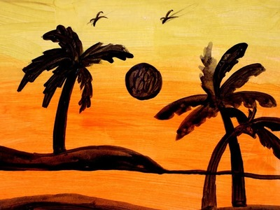 Sunset Scenery with Acrylic Colors for beginners - Step by Step