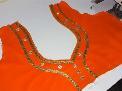 Very beautiful neck design attached with lace