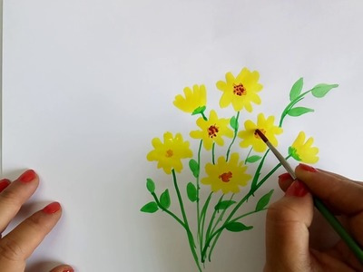 Watercolor flower painting video | Simple steps to flower painting | Card making ideas