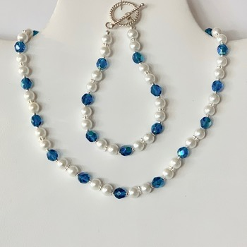 White Pearl and Blue Czech Bead Necklace and Bracelet Set
