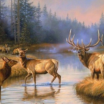 Autumn Mist Elk Cross Stitch Pattern***LOOK***