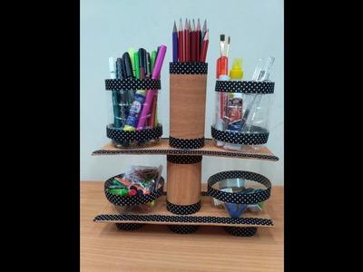 Best Out of Waste || Desk Organiser || Cardboard and Plastic Bottle Craft ||