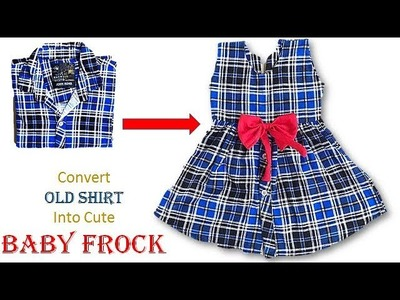 Convert Old Shirt to Cute Baby Frock for 1 to 2 year baby girl