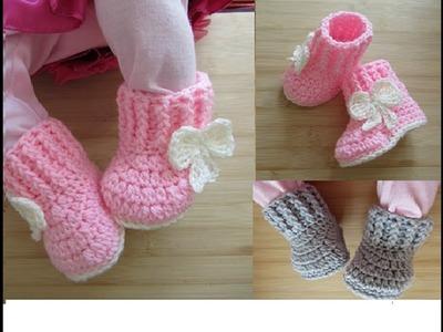 Crochet baby booties tutorial newborn 0-3 months 0-6 months Designed by Happy Crochet Club